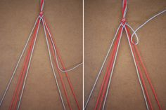 Repeat on the other side: take the 2nd to last strand (shown here in blue) and make a forward knot over the outermost strand (showin here in red). Knot twice.