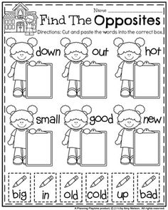 Back to School First Grade Worksheets – Planning Playtime Back to School First Grade Worksheets – Planning Playtime,Classroom Literacy Ideas Back to School First Grade Worksheets – Find the Opposites Worksheet. Opposites Preschool, Opposites Worksheet, Preschool Learning Activities, Kindergarten Worksheets, Phonics Worksheets, Free Worksheets, Teaching Ideas, Back To School Worksheets, First Grade Worksheets