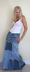 Vintage one of a kind denim blue jean skirt!