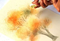 How to paint a beautiful watercolor tree in fall colors with fun, unusual & easy watercolor painting techniques in this step by step tutorial, great for beginners!painting toothbrush watercolor art, crafts, home decorTry some really fun and unusual w Learn Watercolor Painting, Fall Tree Painting, Watercolor Painting Techniques, Easy Watercolor, Painting Art, Watercolour, Painting Tricks, Pine Cone Christmas Decorations, Christmas Ornament Crafts