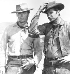Rawhide.....This is a great Western tv show. It follows the story of a trail boss, Gil Favor, and his men during their adventures herding cattle across the wilderness. Also starring a young Clint Eastwood as Rowdy Yates, this show had a plethora of amusing and cool characters.