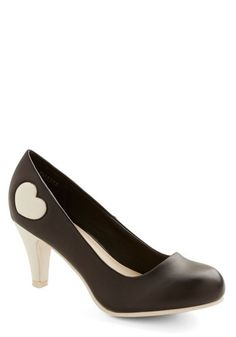 Follow My Heart Heel in Black - Mid, Faux Leather, Black, White, Solid, Party, Girls Night Out, Valentine's, Darling, Better, Variation