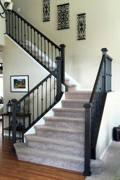 Antique Walnut Gel Stained Stairs - New Ideas Interior Stair Railing, Wrought Iron Stair Railing, Stair Railing Design, Staircase Railings, Bannister, Black Banister, Painted Staircases, Painted Stairs, Foyers