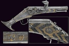 A very scarce iron wheel-lock pistol by Peter Danner, Germany, 16th century.