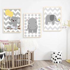 Ces jolies affiches grises et jaunes seront parfaites pour compliquer la décoration d'une chambre d'enfant.