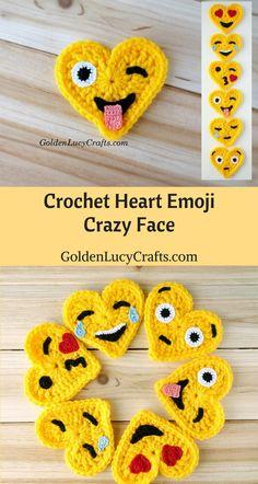 Crochet Emoji, Crazy Face, Heart Shaped, Valentines, Heart, #crochet, #heart, free crochet pattern - GoldenLucyCrafts