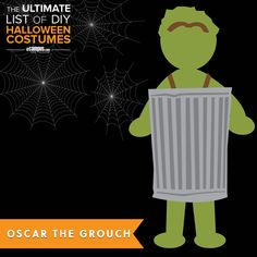 The perfect #costume for a Monday! See how to make Oscar the Grouch +250 other easy, DIY costumes: ecampusdot.com/1MUKey7
