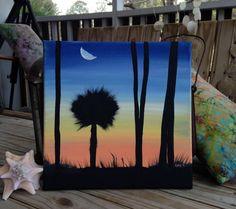 Sunset Silhouette Classic South Carolina Coastal Painting. Acrylic on Square Canvas. 12x12.  Palm tree painting.