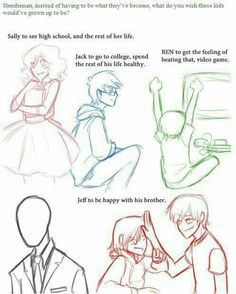 Slenderman, instead of having to be what they've become, what do you wish these kids would've grown up to be?, sad, text, Slenderman, Sally, Eyeless Jack, Ben Drowned, Jeff the Killer, Homicidal Liu; Creepypasta