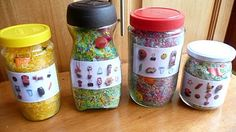 Find-it jar that has photo of items inside the rice. Kid can mark off what they find with dry-erase marker and then wipe off when done. Maybe put label on lid?