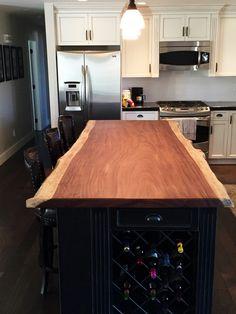 A customer's kitchen project: Parota Live Edge Countertop.