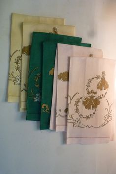 Vintage Fingertip Towels Set of 6 Hollywood Regency Style Linen Hand Towels Cherubs and Garden Nymphs 1960's by ZoomVintage on Etsy