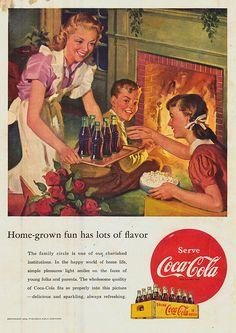 Coca Cola Ad 1952 Home Grown Fun Has Lots of Flavor - Fireplace Family & Coke Coca Cola Poster, Coca Cola Ad, Coca Cola Bottles, Pepsi, Vintage Coca Cola, Vintage Advertisements, Vintage Ads, Vintage Posters, Retro Ads