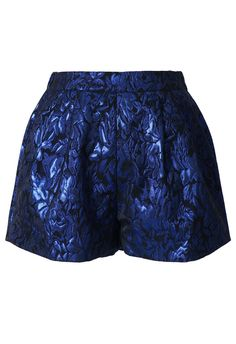 #Chicwish Metallic Blue Embroidery Floral Shorts