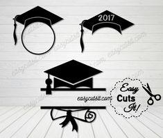 Graduation Monogram Bundle ~ SVG, DXF, EPS, PDF & Studio  Compatible with Cricut Explore, Silhouette Cameo & More.