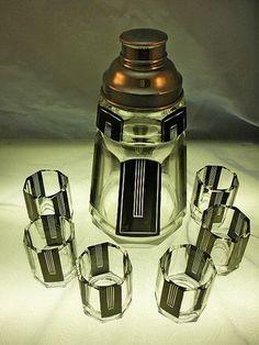 Karl Karel Palda Czech Art Deco Glass Geometric Cocktail Shaker & 6 Cups.