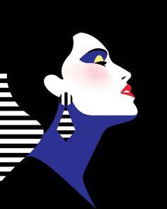 """Profil de femme"" Illustration de l'artiste française Malika Favre"