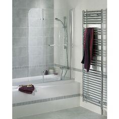 L'écran de baignoire Génie est formé de 2 volets pivotants à 180°. Pour le ranger facilement le long du mur, il est relevable de 28 cm. Ouvert, il affiche une largeur de 101 cm et replié, de 67 cm.