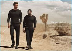 Modern Essentials - The Intarsia Knit: David Beckham and Kevin Hart explore the desert in H&M colorblock sweaters.