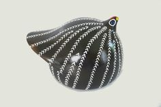 White and Black Ethiopian Guinea Fowl Clay Decoration Traditional