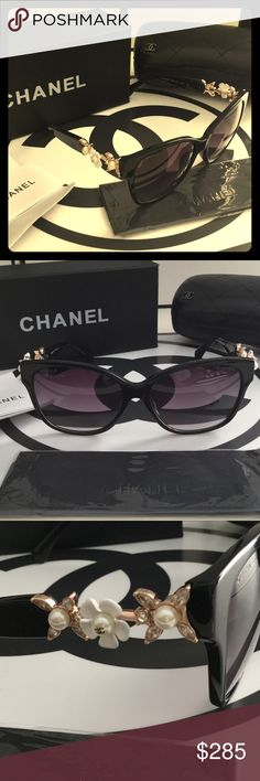 Auth Chanel Crystal & Pearl Flower Sunglasses New, unworn beautiful Chanel Sunglasses with crystal and Pearl flower design. Super cute oversized frame. In brand new, perfect condition. NO SCRATCHES! It was just a little dust, not a scratch lol  So gorgeous ❤️ Box and case included. CHANEL Accessories Glasses
