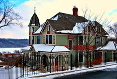 """One of many beautiful Victorian homes in Stillwater, MInnesota, the """"Anderson House"""" on Chestnut Avenue overlooks the St. Croix River valley and downtown Stillwater. It was built in the Queen Anne style of architecture and dates back to the late Beautiful Buildings, Beautiful Homes, Revival Architecture, Historic Architecture, Minneapolis City, Gothic House, Queen, Historic Homes, Victorian Homes"""
