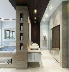 25 Luxurious Bathroom Design Ideas To Copy Right Now with Luxury Bathroom Ideas Contemporary Bathroom Designs, Bathroom Design Luxury, Luxury Bathrooms, Hotel Bathrooms, Tile Bathrooms, Luxury Bathtub, Dream Bathrooms, Modern Contemporary, Modern Master Bathroom