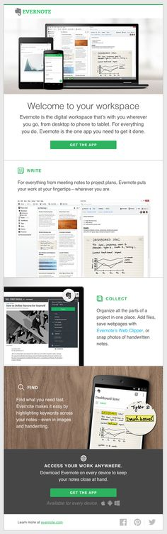Great welcome email from Evernote