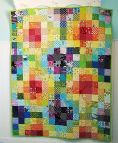 I love this quilt. //    Rainbow Squares Quilt by BlueElephantStitches, via Flickr