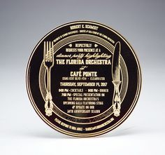 """These mirrored gold acrylic """"dinner plate"""" invites are breathtaking! Acrylic Invitations, Table Signs, Fort Collins, Acrylic Colors, Corporate Events, Invites, Special Events, Custom Design, How To Memorize Things"""