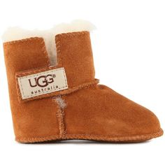 Ugg Baby Erin Soft Sole Boots ($53) ❤ liked on Polyvore featuring shoes, boots, brown, brown boots, ugg australia, velcro boots, ugg australia boots and velcro strap shoes