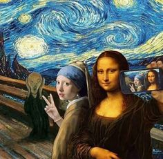 Selfie with The Scream, Mona Lisa, Girl with a Pearl Earring