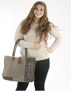 Sunsa Damen Vintage Tasche Shopper Schultertasche Handtasche aus Canvas / Segeltuch / Leder