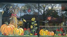 fall window painting idea for bay window … Fall Window Decorations, Fall Decor, Halloween Window Display, Window Mural, Room Window, Bay Window, Store Front Windows, School Murals, Autumn Painting