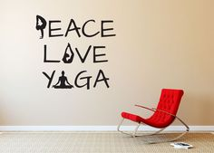 "Peace Love Yoga Quote Wall Decal - We offer many sizes and custom sizes are also available on request. 36"" tall shown in product image. This is easy to install and comes with application instructions and an application squeegee. Can be removed without damaging walls. Sticker Hog Vinyl Wall Decals are great for decorating interior walls."