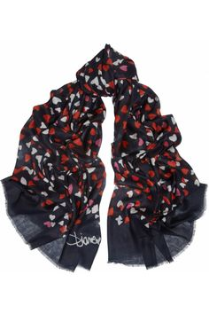 Diane von Furstenberg Hanover heart-print modal scarf NET-A-PORTER.COM