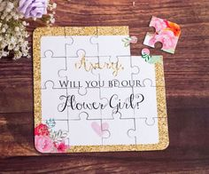 Flower Girl Gift Puzzle Invitation. Personalized Flower Girl Puzzle, Asking…