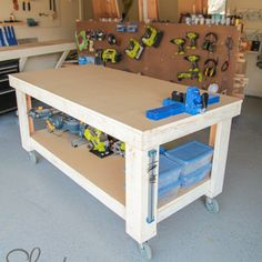 Check out this project on RYOBI Nation - Hey guys! I am so excited about the workbench I built for the shop in my new house! My shop is still a work-in-progress but this was a huge improvement and much needed addition!