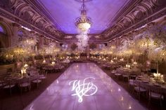 Love the monogram on the dance floor!