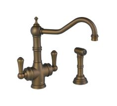 The ROHL Perrin & Rowe Traditional 2-Lever Kitchen Faucet with Sidespray shown in English Bronze brings traditional elegance to your #ROHLWaterApp
