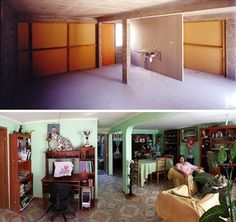 Top: Interior of a house in Iquique financed with public money and, bottom, developed by residents.