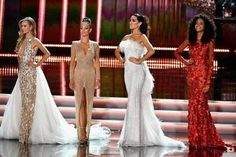 LAS VEGAS, NV - NOVEMBER 26: (L-R) Miss Canada 2017 Lauren Howe, Miss South Africa 2017 Demi-Leigh Nel-Peters, Miss Spain 2017 Sofia del Prado, and Miss Brazil 2017 Monalysa Alcantara compete in the evening gown competition during the 2017 Miss Universe Pageant at The Axis at Planet Hollywood Resort & Casino on November 26, 2017 in Las Vegas, Nevada. Frazer Harrison/Getty Images/AFP