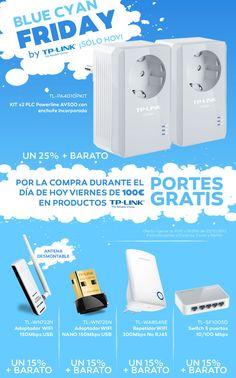 """""""Blue Cyan Friday"""" llévate estos productos de @TPLINK a un precio de escándalo y sólo por hoy #conectividad"""
