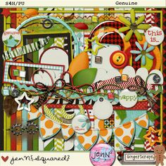 A super funky kit featuring some killer elements by Jen Yurko and papers with bold colors and patterns by Jenn of Joyful Heart Designs ;)     ***Special*** Receive the coordinating pack of alphas AND Jen Yurko's adorable doodles for FREE when you purchase our kit!