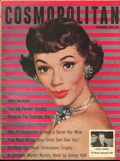 Cosmopolitan magazine, NOVEMBER 1955  Model: Gisele MacKenzie Artist: Jon Whitcomb