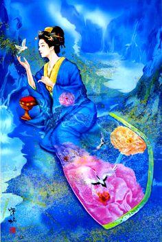 (Japan) by Haruyo Morita ). Native Art, Japanese Artists, Japanese Dolls, Beautiful Fantasy Art, Asian Artwork, Vintage Asian Art, Art, Asian Cards, Geisha Art