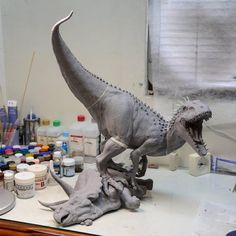 """Fantastic Jurassic World Indominus rex vs Triceratops sculpture by Marvix.F Model Studio in the making! Would have loved to see a scene like this with the…"""