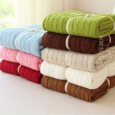 Cobertor de malha cama Banket 100% algodão Super macio cobertor na cama / capa Sofa Blanket 110 * 180 / 200 * 180 cm frete grátis