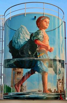 🎶he's got the whole wide world on his back. Murals Street Art, 3d Street Art, Street Art Graffiti, Urban Street Art, Graffiti Murals, Amazing Street Art, Art Mural, Street Artists, Graffiti Artists