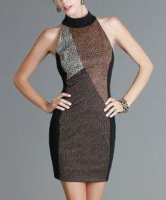 This Black & Brown Halter Dress by NIKIBIKI is perfect! #zulilyfinds